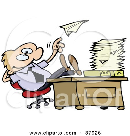 Royalty-Free (RF) Clipart Illustration of a Lazy Toon Guy Throwing A Paper Plane And Resting His Feet On His Desk At Work by gnurf