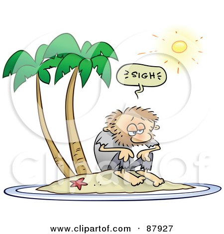 Royalty-Free (RF) Clipart Illustration of a Shaggy Toon Guy Sighing While Stranded On A Deserted Island by gnurf