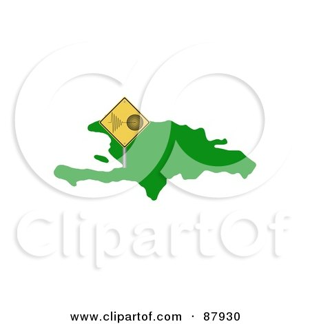 Royalty-Free (RF) Clipart Illustration of a Tremor Warning Sign On Haiti Island by oboy