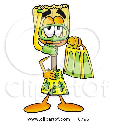 Broom Mascot Cartoon Character in Green and Yellow Snorkel Gear Posters, Art Prints