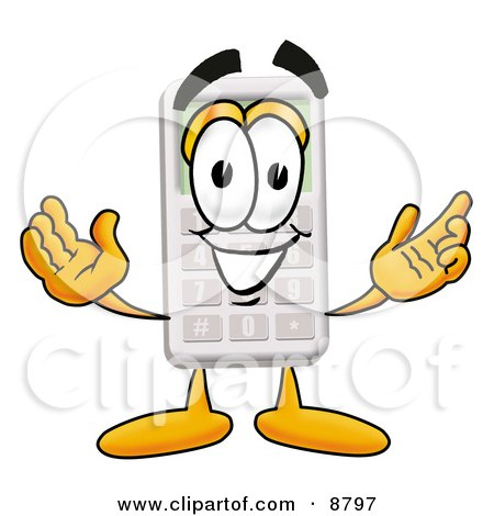 Calculator Mascot Cartoon Character With Welcoming Open Arms Posters, Art Prints