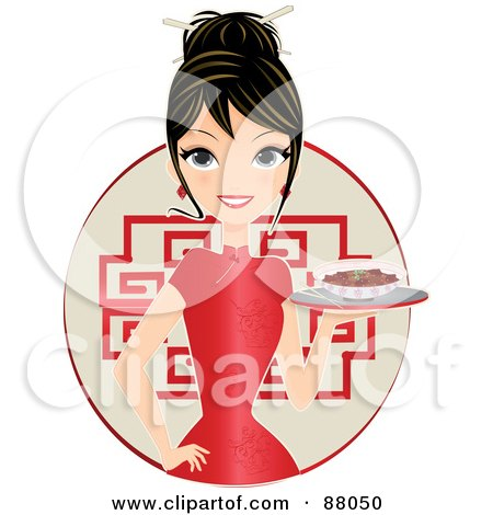 Royalty-Free (RF) Clipart Illustration of a Beautiful Woman In A Cheongsam Dress, Serving Food by Melisende Vector