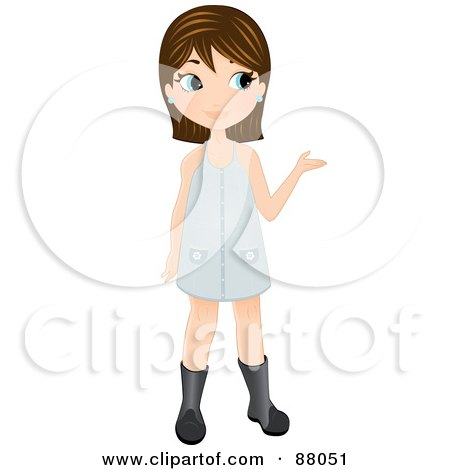 Royalty-Free (RF) Clipart Illustration of a Cute Brunette Girl In Boots And A Dress, Presenting With Her Hand by Melisende Vector