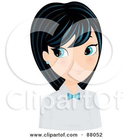 Royalty-Free (RF) Clipart Illustration of a Pretty Blue Eyed Asian Girl In A Uniform With A Bow Tie by Melisende Vector