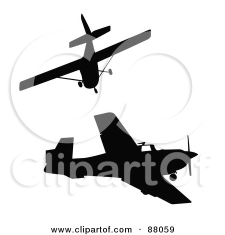 Royalty-Free (RF) Clipart Illustration of a Digital Collage Of Two Flying Silhouetted Black Airplanes by JR