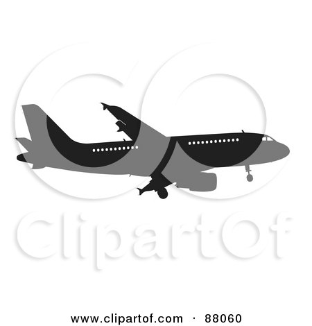 Royalty-Free (RF) Clipart Illustration of a Silhouetted Black Airplane With Windows - Version 1 by JR