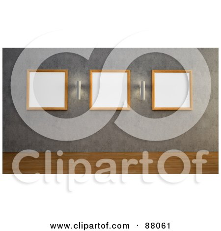 Royalty-Free (RF) Clipart Illustration of a 3d Gallery Wall With Sconces And Blank Picture Frames by Mopic