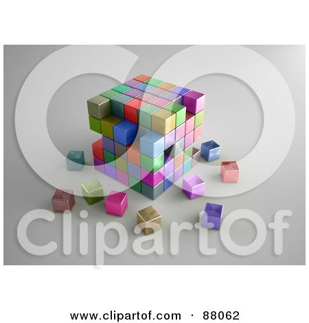 Royalty-Free (RF) Clipart Illustration of a 3d Puzzle Cube Of Colorful Boxes Crumbling by Mopic