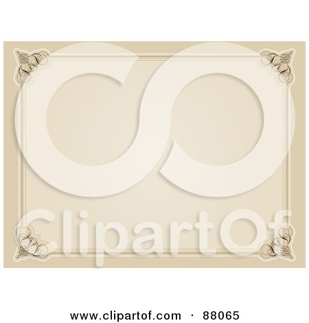 Royalty-Free (RF) Clipart Illustration of a Blank Sepia Certificate by KJ Pargeter