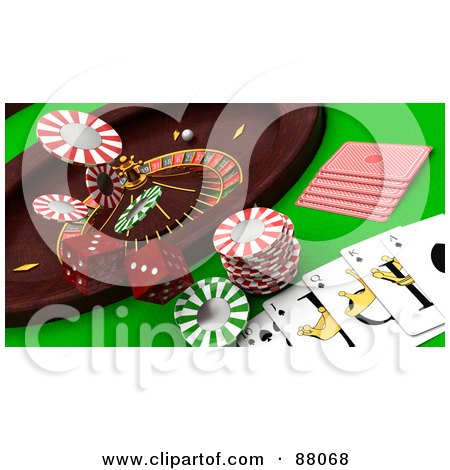 Royalty-Free (RF) Clipart Illustration of a 3d Casino Scene Of A Roulette Wheel, Dice, Cards And Poker Chips by KJ Pargeter