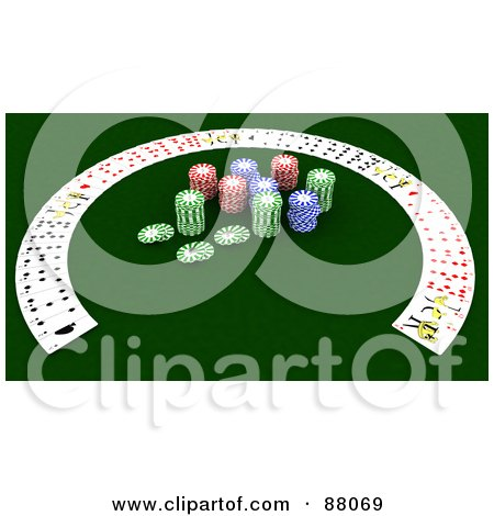 Royalty-Free (RF) Clipart Illustration of a 3d Half Circle Of Playing Cards Around Poker Chips by KJ Pargeter