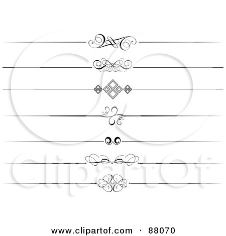 Royalty-Free (RF) Clipart Illustration of a Digital Collage Of Seven Decorative Black And White Website Divider Headers by KJ Pargeter