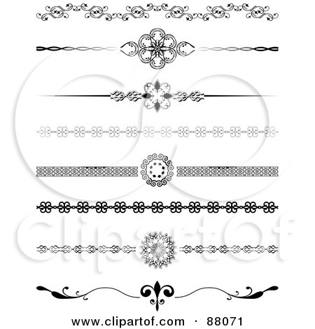 Royalty-Free (RF) Clipart Illustration of a Digital Collage Of Eight Decorative Black And White Website Divider Headers by KJ Pargeter