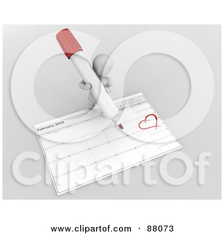 Royalty-Free (RF) Clipart Illustration of a 3d White Character Drawing A Heart Around Valentines Day On A Calendar by KJ Pargeter