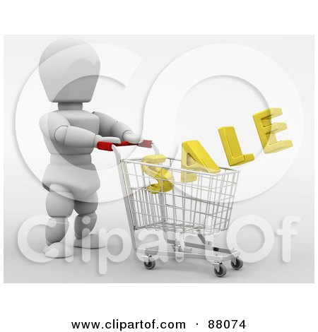 Royalty-Free (RF) Clipart Illustration of a 3d White Character Pushing A Golden Sale In A Shopping Cart by KJ Pargeter