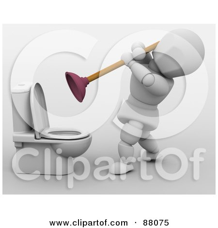 Royalty-Free (RF) Clipart Illustration of a 3d White Character Tackling A Clogged Toilet With A Plunger by KJ Pargeter