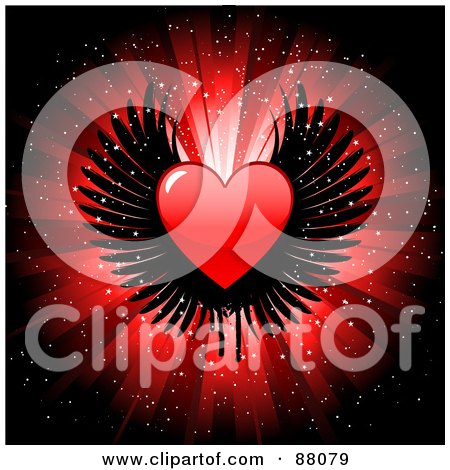 Royalty-Free (RF) Clipart Illustration of a Shiny Red Heart With Black Wings Over A Glittery Burst Background by KJ Pargeter