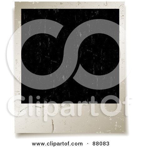 Royalty-Free (RF) Clipart Illustration of a Ring Mark And Grungy Scratches On A Blank Polaroid Picture by KJ Pargeter