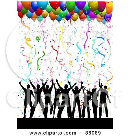Royalty-Free (RF) Clipart Illustration of a Silhouetted Dancing Group Under Confetti And Party Balloons On White by KJ Pargeter
