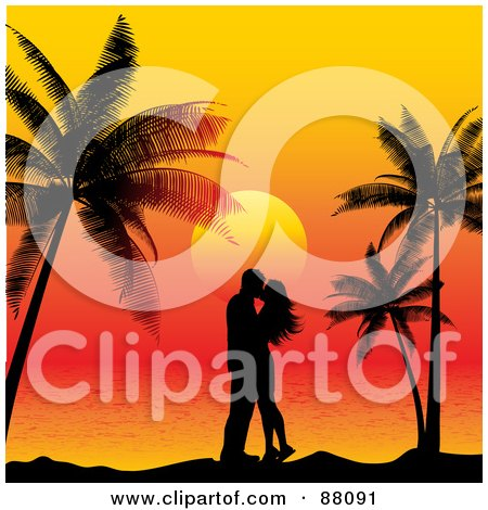 Royalty-Free (RF) Clipart Illustration of a Couple In Silhouette, Kissing Under Palm Trees Against A Tropical Sunset by KJ Pargeter
