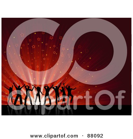Royalty-Free (RF) Clipart Illustration of Silhouetted Young People Dancing Over A Red Starry Burst Background On Reflective Black by KJ Pargeter