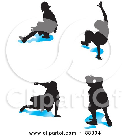Royalty-Free (RF) Clipart Illustration of a Digital Collage Of Four B Boy Dancers With Blue Shadows - Version 2 by tdoes