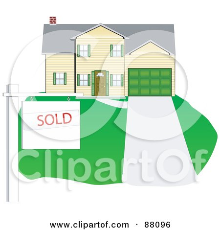 Royalty-Free (RF) Clipart Illustration of a Sold Sign In Front Of A Sold Two Story Home by tdoes