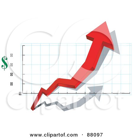 Royalty-Free (RF) Clipart Illustration of a 3d Red Arrow Depicting Profit In Dollars by tdoes