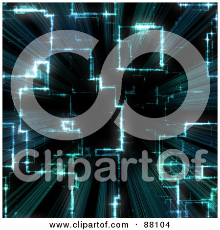 Royalty-Free (RF) Clipart Illustration of a Glowing Circuitry Blue Background by Arena Creative