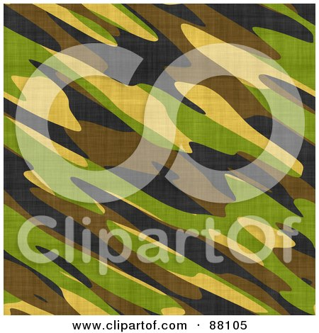 Royalty-Free (RF) Clipart Illustration of a Green, Brown, Black And Yellow Army Camouflage Background by Arena Creative