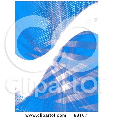 Royalty-Free (RF) Clipart Illustration of a Blue Background With A Bright White Swoosh, Stripes And Binary Coding by Arena Creative