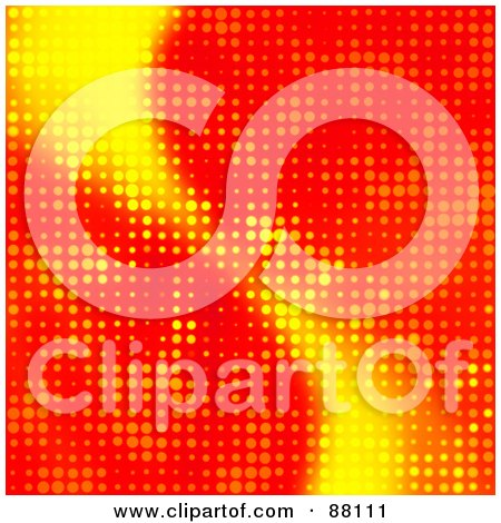 Royalty-Free (RF) Clipart Illustration of a Bright Red And Yellow Glowing Halftone Background by Arena Creative