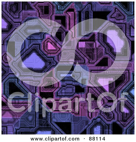 Royalty-Free (RF) Clipart Illustration of a Purple Circuitry Background by Arena Creative