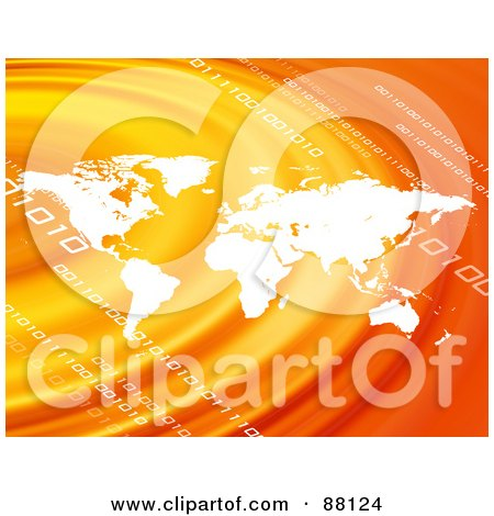 Royalty-Free (RF) Clipart Illustration of a White Atlas Over Orange Ripples With Binary Code by Arena Creative