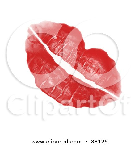 Royalty-Free (RF) Clipart Illustration of a Red Lipstick Kiss Left By A Woman's Luscious Plump Lips by Arena Creative