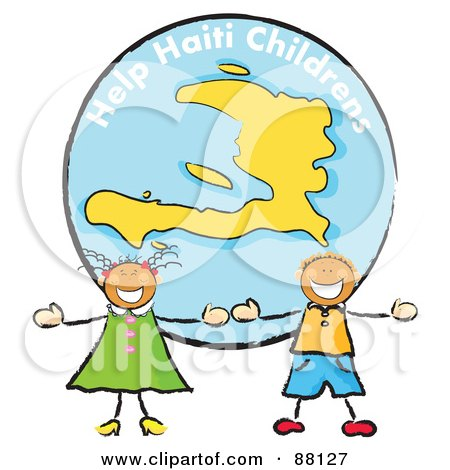 Royalty-Free (RF) Clipart Illustration of Two Stick Children Standing In Front Of A Haiti Globe by MacX