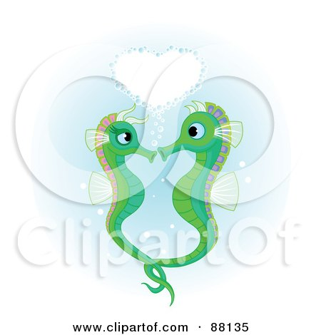 Royalty-Free (RF) Clipart Illustration of a Heart Of Bubbles Over A Green Seahorse Pair by Pushkin