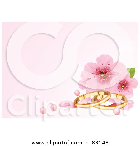 Royalty-Free (RF) Clipart Illustration of a Pastel Pink Background With Cherry Blossoms, Pearls And Wedding Rings by Pushkin