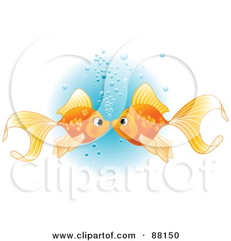 Royalty-Free (RF) Clipart Illustration of a Goldfish Pair Smooching With Bubbles by Pushkin