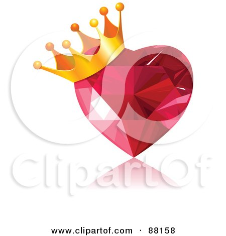 Royalty-Free (RF) Clipart Illustration of a Golden Crown On A Gem Heart by Pushkin