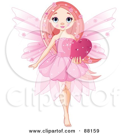 Royalty-Free (RF) Clipart Illustration of a Cute Pink Love Fairy Holding A Sparkly Heart by Pushkin