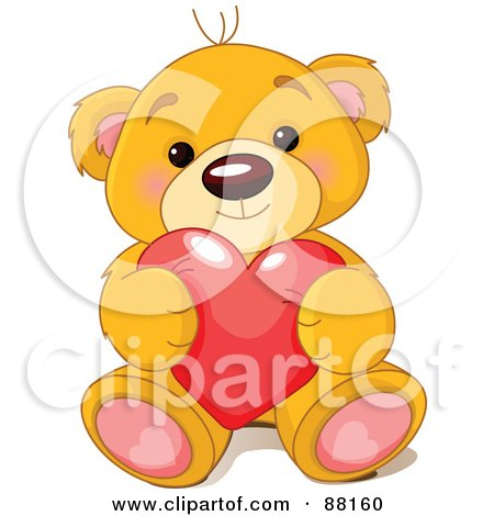 Royalty-Free (RF) Clipart Illustration of a Sitting Teddy Bear Holding A Red Love Heart by Pushkin