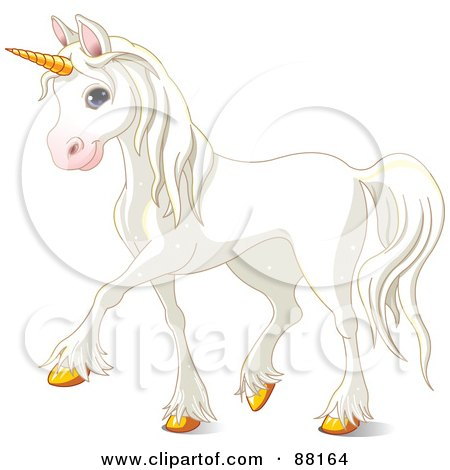 Royalty-Free (RF) Clipart Illustration of a Cute And Majestic White Unicorn With Gold Hooves by Pushkin