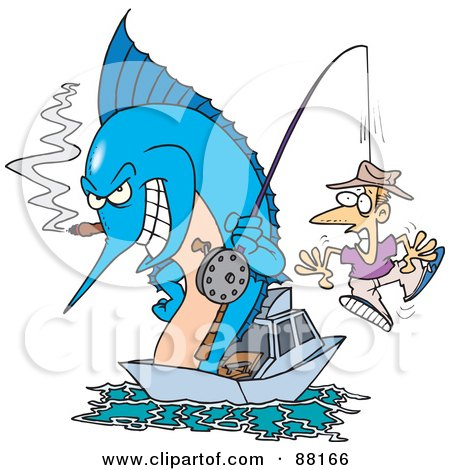 Royalty-Free (RF) Clipart Illustration of a Marlin Smoking A Cigar And Reeling In A Man On A Hook by toonaday