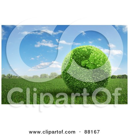 Royalty-Free (RF) Clipart Illustration of a 3d Botanical American Earth Of Leaves On A Field Of Grass by Mopic