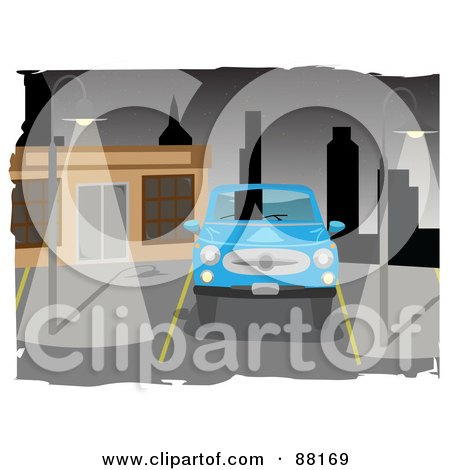 Royalty-Free (RF) Clipart Illustration of a Car Backed Up In A Parking Lot At Night, With Grungy White Trim by mheld