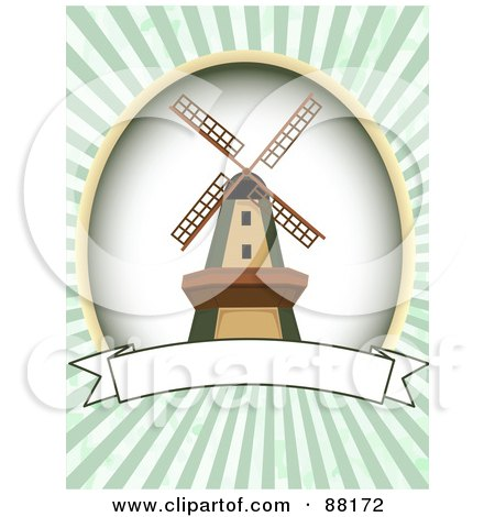 Royalty-Free (RF) Clipart Illustration of a Windmill Over A Blank Banner With Green Retro Bursts by mheld