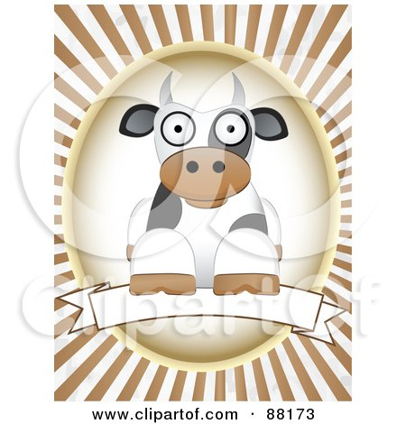 Royalty-Free (RF) Clipart Illustration of a Cow Resting Over A Blank Banner With Brown Retro Bursts by mheld