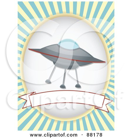Royalty-Free (RF) Clipart Illustration of a UFO Over A Blank Banner With Blue Retro Bursts by mheld