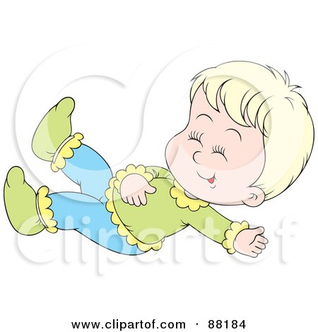 Royalty-Free (RF) Clipart Illustration of a Happy Blond Caucasian Baby Giggling And Lying On Her Back by Alex Bannykh